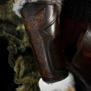 Vendel Wolf SCA Leather Vambrace