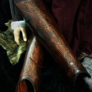 Vendel Wolf SCA Leather Greaves