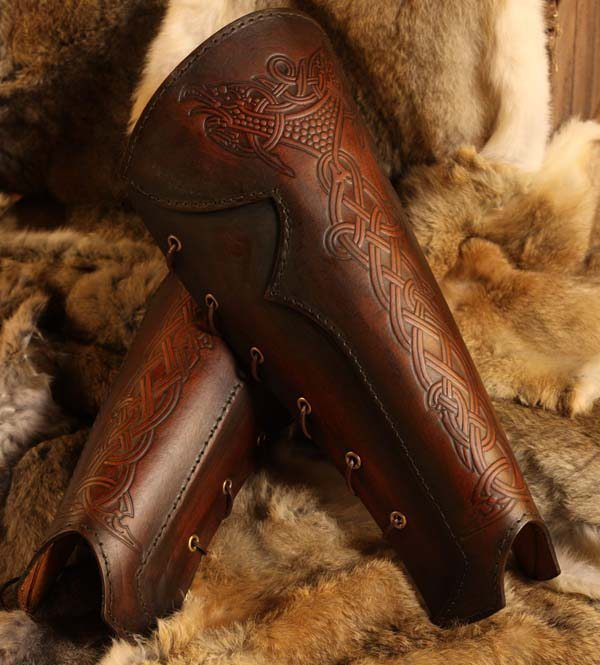 Vendel Raven LARP Leather Greaves