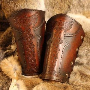 Vendel Raven Leather LARP Vambrace