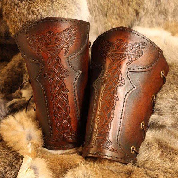 Vendel Raven Leather LARP Vambrace