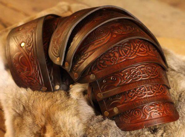 Vendel Raven LARP Leather Shoulders