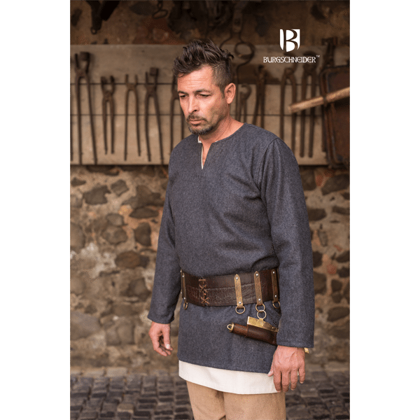 Medieval Wool Tunic Lodin Dark Grey 1