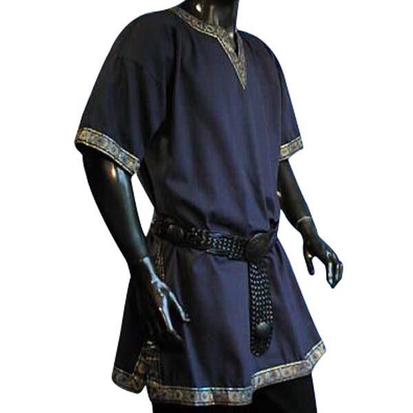 Linen Look Short Sleeved Tunic Blue