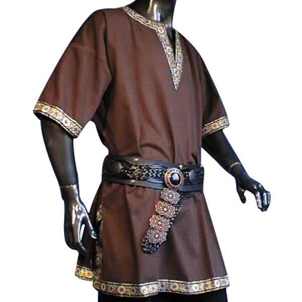 Linen Look Short Sleeved Tunic Brown