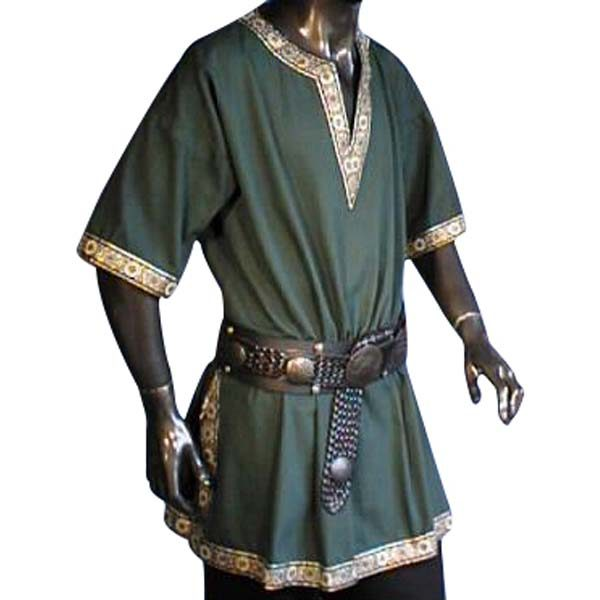 Linen Look Short Sleeved Tunic Green