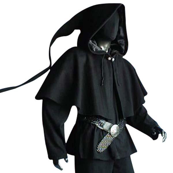 Medieval Lined Hood Black