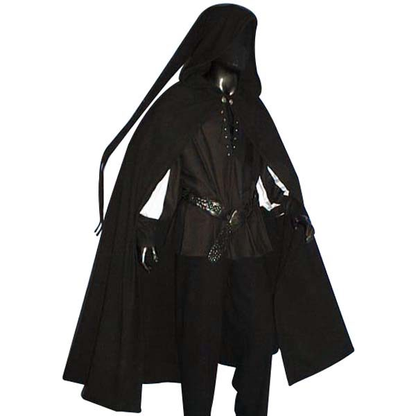 Medieval Long Tailed Cloak Black