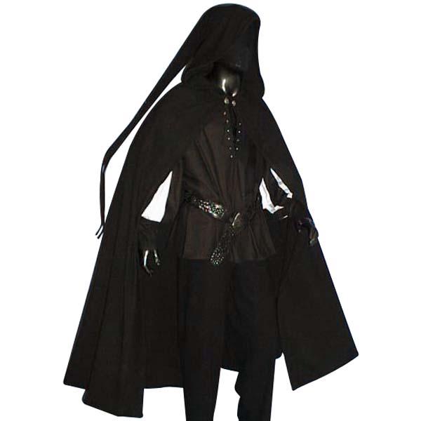 Medieval Long Tailed Cloak Black
