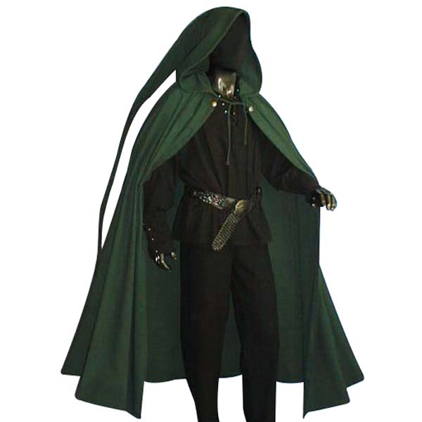 long tailed medieval cloak ideal for larp sca and costume black
