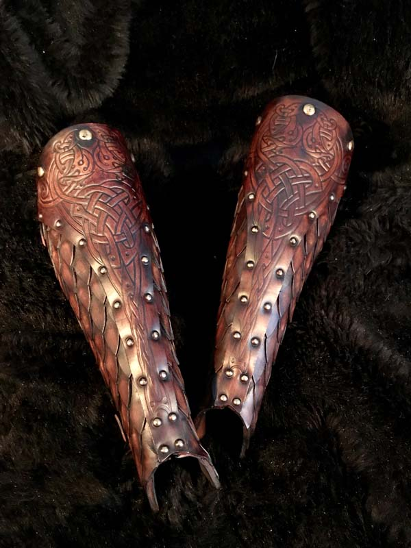 Sigrun Deluxe Leather Greaves