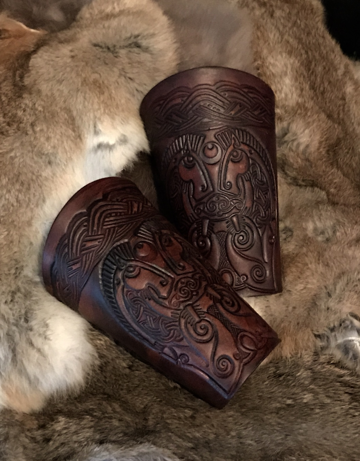 The Rhidur Norse leather Vambraces