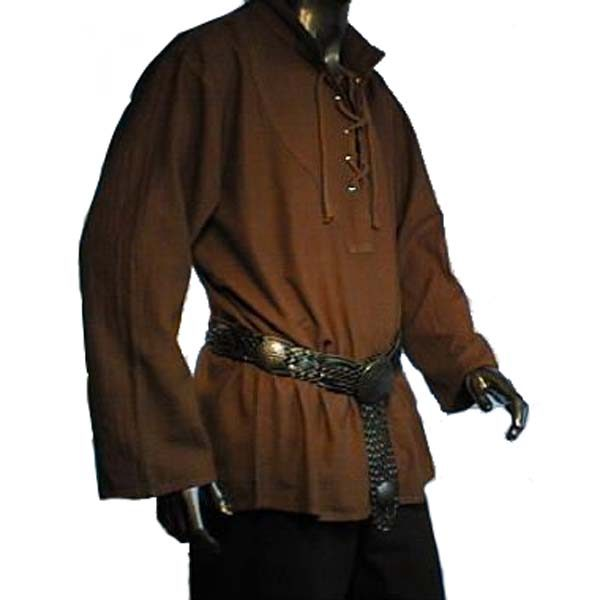 medieval laced shirt brown