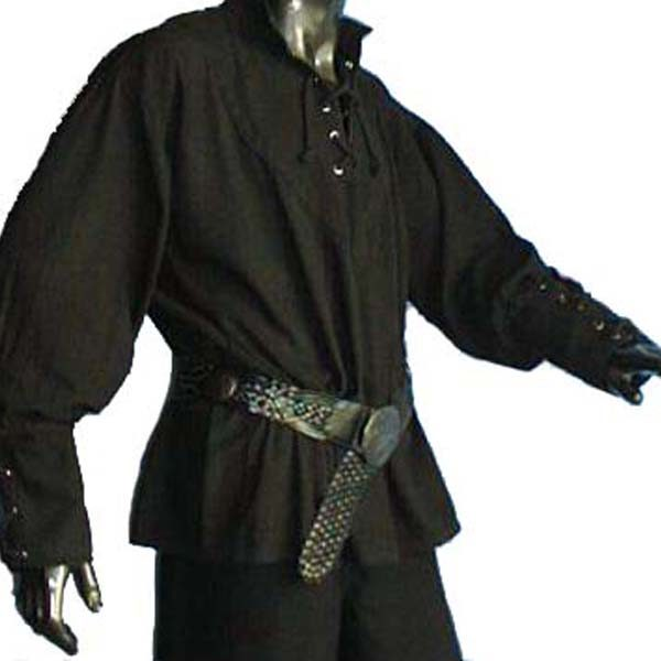 Medieval Shirt with stand up collar BLACK