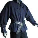 Medieval Shirt with stand up collar BLUE