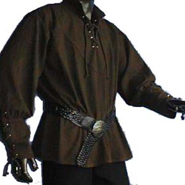 Medieval Shirt with stand up collar BROWN