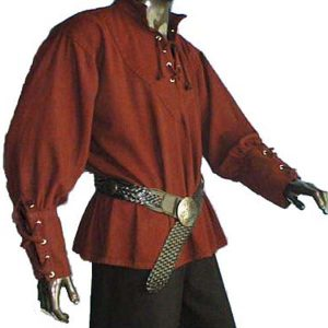Medieval Shirt with stand up collar RED