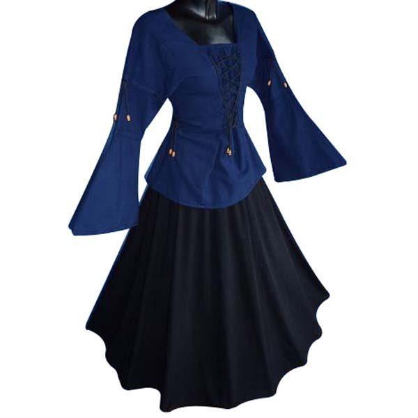 Medieval Blouse linen look BLUE