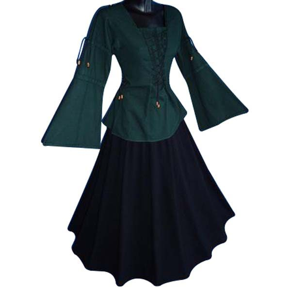 Medieval Blouse linen look GREEN