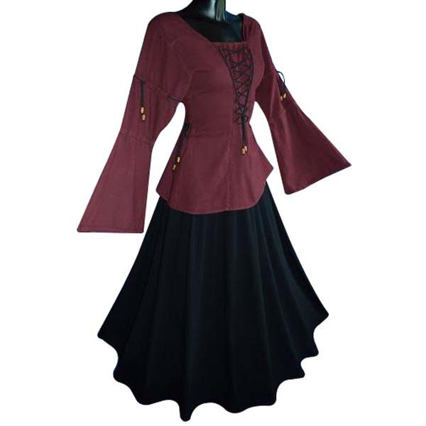 Medieval Blouse linen look RED