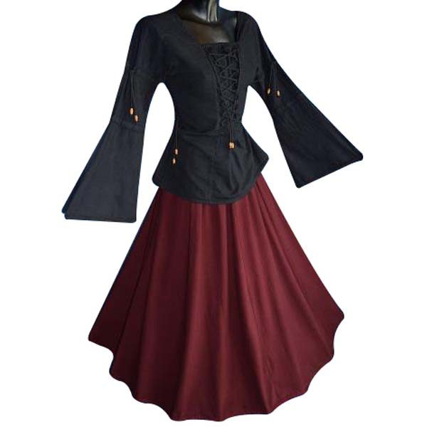 Medieval Blouse linen look BLACK