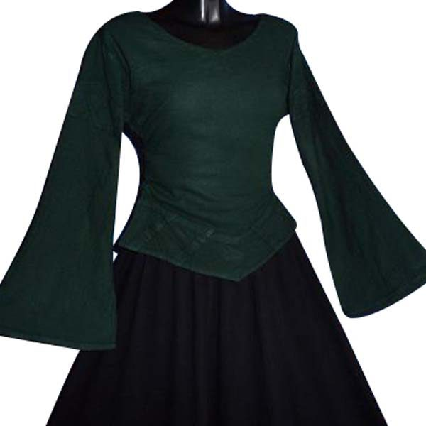 Linen Look Medieval Blouse GREEN