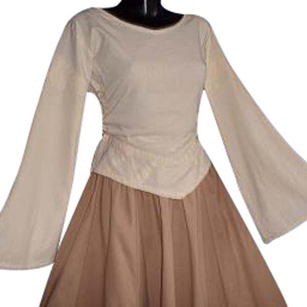 Linen Look Medieval Blouse NATURAL