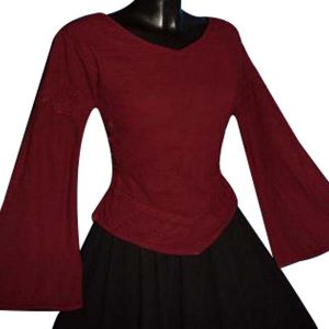 Linen Look Medieval Blouse RED