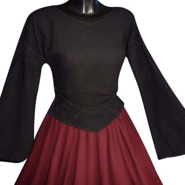 Linen Look Medieval Blouse BLACK