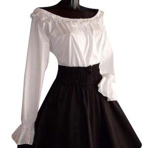 Frilled Medieval Blouse With Long Sleeves WHITE