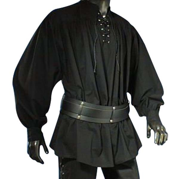 Pirate shirt with lace up collar and button cuffs BLACK