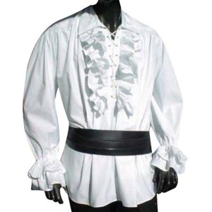 Ruffled Shirt with lace up front – Ideal For LARP, SCA and Costume