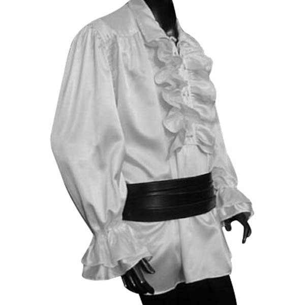 Satin Ruffled Shirt with lace up front WHITE