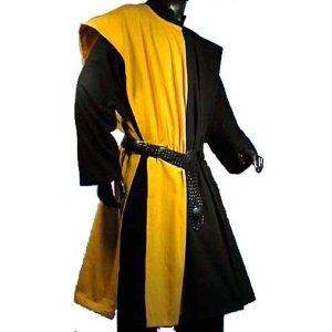 Open Sided Checkerboard Pattern Surcoat YELLOW AND BLACK