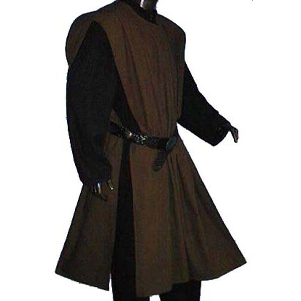 Linen Look Plain Surcoats BROWN