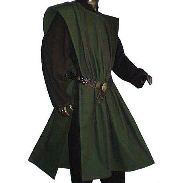 Linen Look Plain Surcoats GREEN