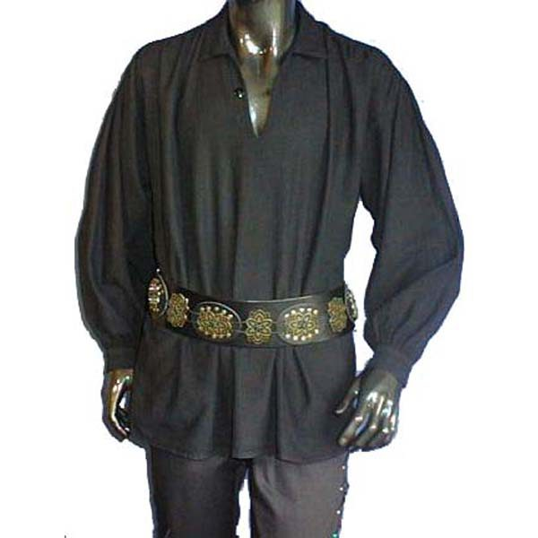 Medieval Shirt with collar and single button at neck BLACK