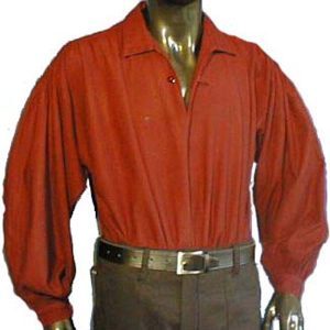 Medieval Shirt with collar and single button at neck RED