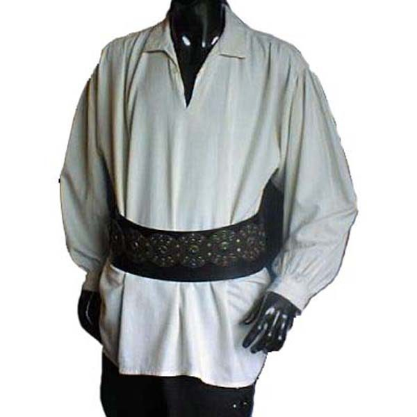 Medieval Shirt with collar and single button at neck WHITE