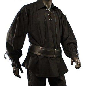 Renaissance Shirt with laced neck BLACK