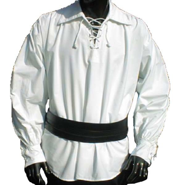 Renaissance Shirt with laced neck WHITE