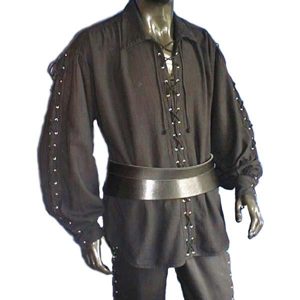 Laced Up Renaissance Shirt BLACK