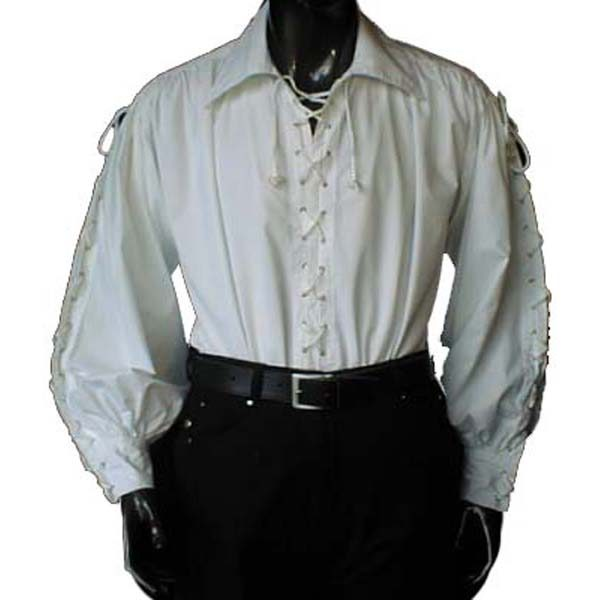 Pirate Shirt with wide collar WHITE