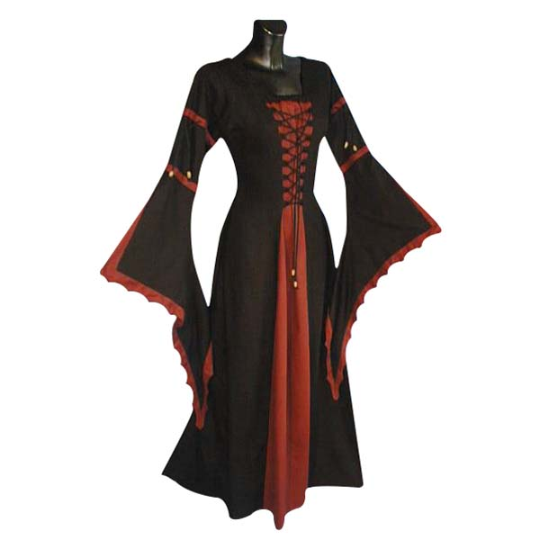 Medieval Dress With Scalloped Trumpet Sleeve And Laced Front RED