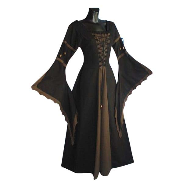 Medieval Dress With Scalloped Trumpet Sleeve And Laced Front BROWN