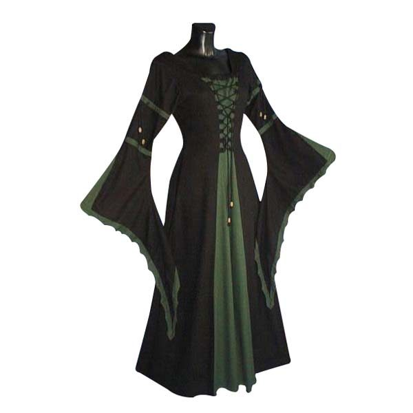 Medieval Dress With Scalloped Trumpet Sleeve And Laced Front GREEN