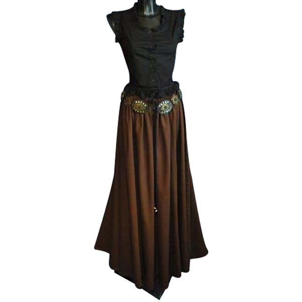 Medieval Style Linen Look Long Skirt BROWN