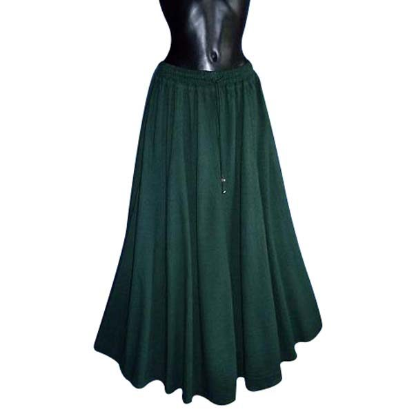 Medieval Style Linen Look Long Skirt GREEN
