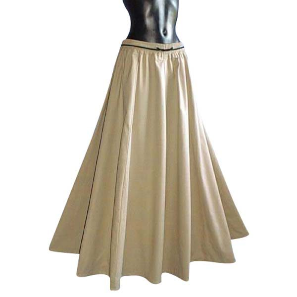 Medieval Style Linen Look Long Skirt LIGHT BROWN