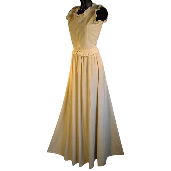 Medieval Style Linen Look Long Skirt NATURAL